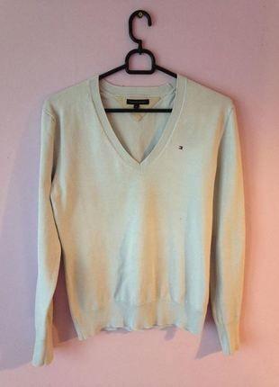 Kup mój przedmiot na #vintedpl http://www.vinted.pl/damska-odziez/swetry-z-dekoltem/12513022-blekitny-sweterek-tommy-hilfiger-ze-sciagaczami