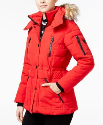 GUESS Faux-Fur-Trim Hooded Puffer Coat, Only at Macy's $99.99 Pull on this faux-fur-trim puffer coat from GUESS when the weather forecast calls for plunging temps.