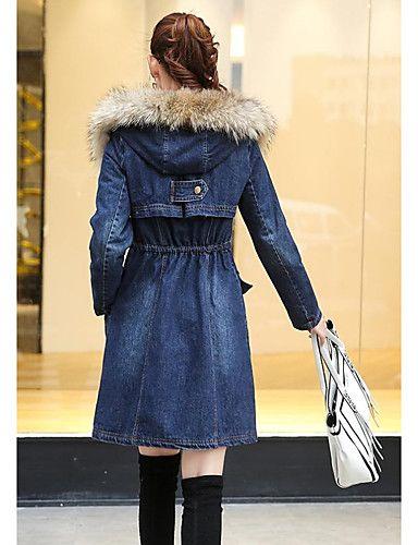 Giacche di jeans Da donna Casual Autunno / Inverno Semplice,Tinta unita Cotone Blu Manica lunga Medio spessore del 5380119 2016 a €34.29