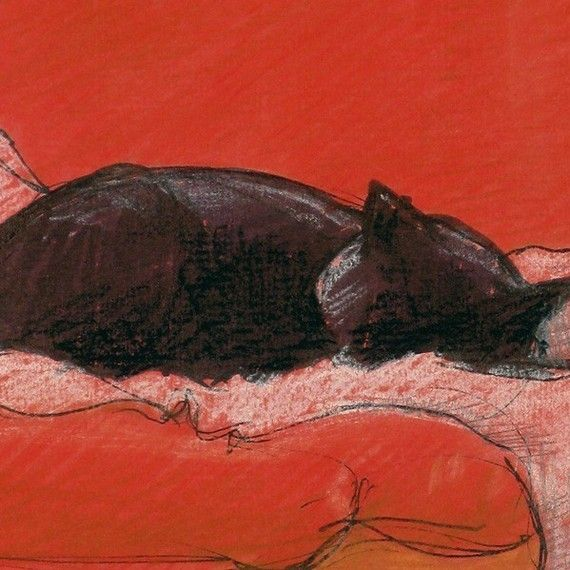 Little Enid in Red Chair - Print of Original black cat Art by HARRY with red on red color theme and ikea chair and lamb wool cover