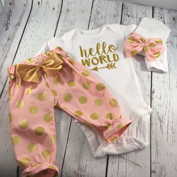 Newborn Girl Take home Outfit. Newborn Girl. by pinnyandtunny