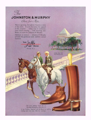 Johnston & Murphy men's equestrian shoes and boots, 1928.