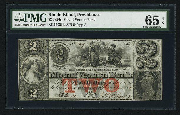 Rhode Island, Providence, RI- Mount Vernon Bank $2 Nov. 22, 1858 G54a. ...