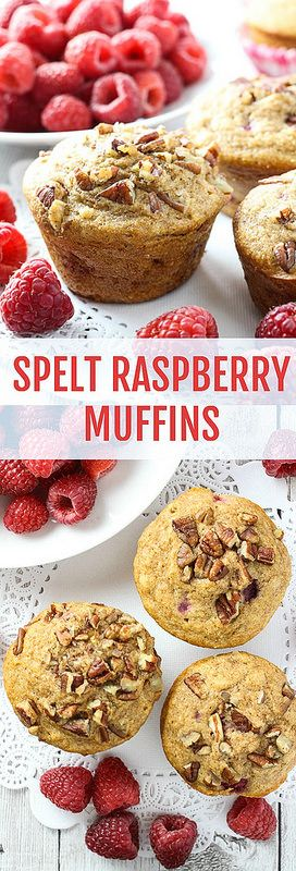Healthy Spelt Raspberry Muffins. These muffins are naturally sweetened with maple syrup and berries. You can experiment with the recipe by adding different kinds of berries and nuts you have on hand.
