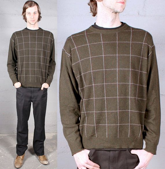 Modern Mens CASHMERE SWEATER Vintage Green Graph Paper PullOver PREPPY Classic Country Club Boyfriend Size Large Fall Winter Warm Soft Knits by HarlowGirls on Etsy