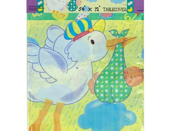 """Stork's Surprise Tablecover, 24 - Bring sweetness to baby showers with this Stork's Surprise Baby Shower Tablecover featuring a durable plastic tablecover with graphics of a stork holding a baby with clouds, rain, hearts, safety pins, rubber ducks and baby bottles in soft pastel colors. Measures approximately 54"""" x 72"""". Comes packaged in a poly bag with a header card.-Weight: 0.2549/unit"""