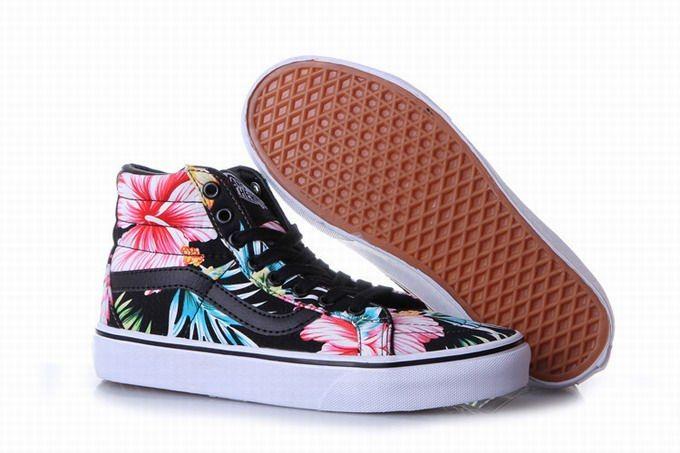 063bf00b5ac074 Vans Hawaiian Floral SK8-Hi Slim Black Women s Shoes  Vans