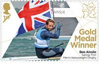 Great Britain Olympic stamps -  Ben Ainslie - Sailing  Finn - Men's Deavyweight Dinghy