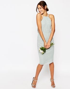 ASOS WEDDING Embellished Cami Drape Back Midi Pencil Dress