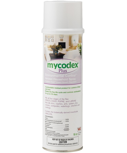 Mycodex® Plus Environmental Control™ Aerosol Household Spray |  - Kills all four stages of flea life cycle: adults, eggs, larvae, pupae - Breaks the flea life cycle and controls reinfestation for up to 210 days - Kills ticks, roaches, ants, spiders, lice, crickets, centipedes, waterbugs, silverfish and sowbugs - One can covers 500 square feet  Active Ingredients: Linalool, N-Octyl Bicycloheptene Dicarboximide, Pyriproxyfen, Permethrin