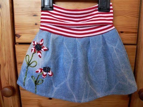 handmade kanzashi fabric applicatio/ kanzashi skirt application/ skirt for toddlers decorated with handmade flowers/kanzashi aplikace na sukni pro batole/ jednoduchá květinová aplikace na sukni  Videa  - YouTube