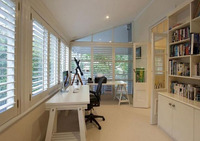 Adore, adore, adore this sleep-out to study conversion. Sigh: shutters, built-ins and LIGHT!