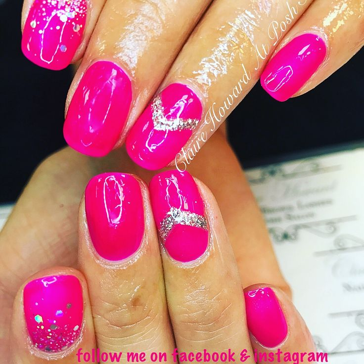 Bright pink nails with sparkly chevrons using Angel wings and diamond gel from the gel bottle inc. visit claire howard at posh salon