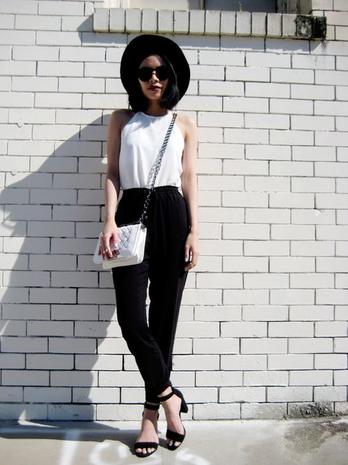 White top and black skinnies