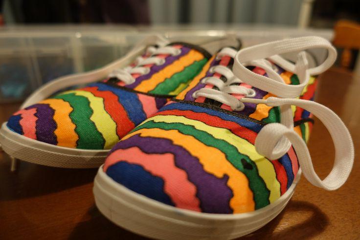 Sharpie coloured canvas shoes