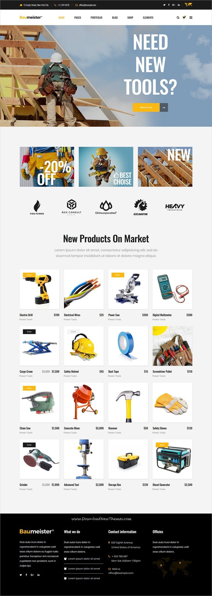 Baumeister is clean, powerful and modern design responsive WordPress theme for energy, industry and #manufacturing #shop company #website with 9 niche homepage layouts to live preview & download click on Visit