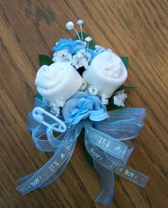 Boy Baby Sock Corsage for MothertoBe by reneesboutique23 on Etsy, $14.95