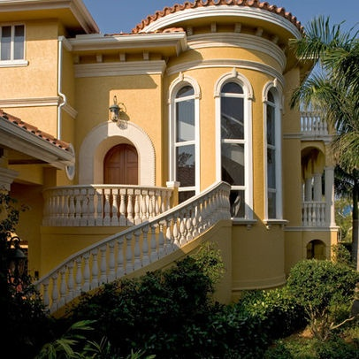 Paint For Mediteranian House | Mediterranean Home Yellow Exterior Design  Ideas, Pictures, Remodel And