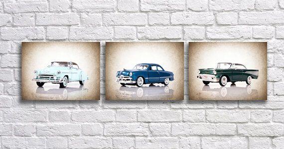 Discount set of 3 classic cars,wall decor,boys room decor,wall art,bedroom decor,cars,classic cars wall art,teen room decor,ford cars