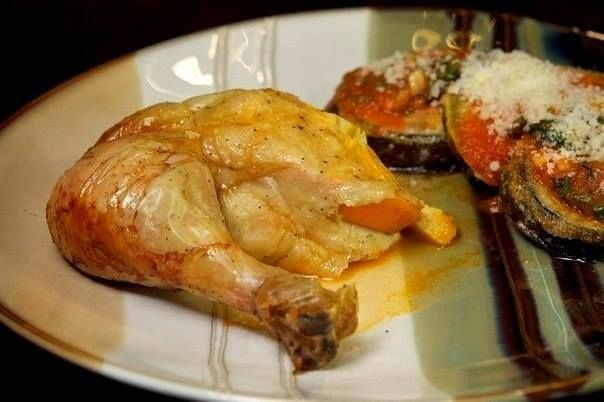 Chicken, baked with oranges