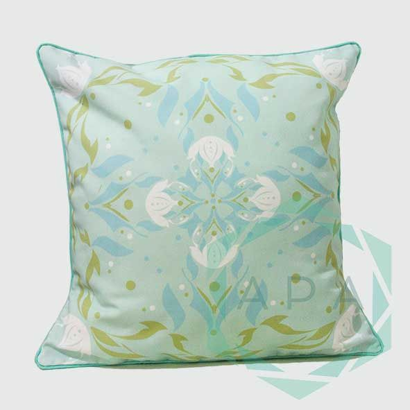 Inspired by the lotus flower, the design is characterised by a geometric print while a self-piped edge adds a neat finishing touch.  Lotus2green cushion comes in 2 sizes:  45x45= Rp. 350,000 60x60= Rp. 450,000  For inquiries email us apaproductionhouse@gmail.com