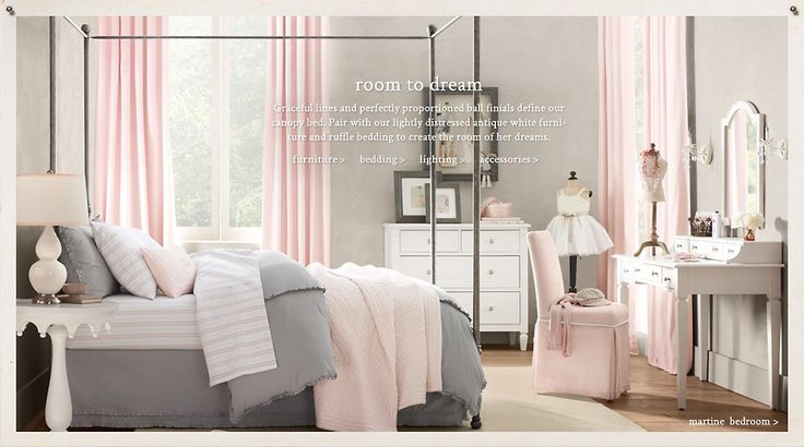 Quite possibly the most perfect little girl room; so sophisticated and pretty, but cozy enough for a girls room. love it