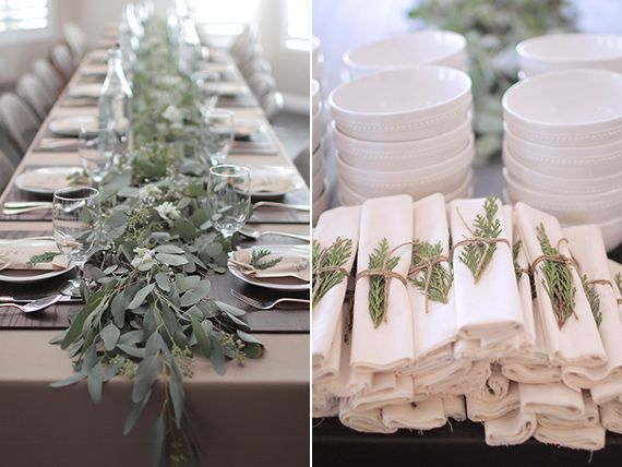 French grey linen, white and muted greens are very elegant. This was actually a table for a winter baby shower by Jay Adores Designs | 100 Layer Cakelet