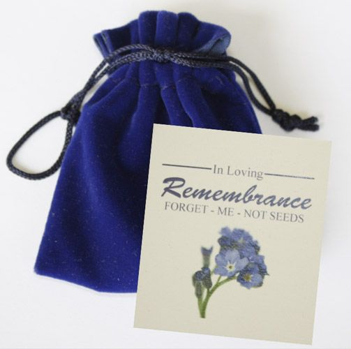 Forget me not flower pouch memorial  gift. A Next Gen Memorials original, forget-me-not flowers symbolize the everlasting memory of your loved one. The high quality velvet pouch contains approximately 9,000 forget-me-not seeds and covers up to 25 square feet. The pouches come in a beautiful decorative box. Perfect to send in lieu of flowers. #funeralgift, #bereavementidea, #flowers, #memorial, #celebrationoflife