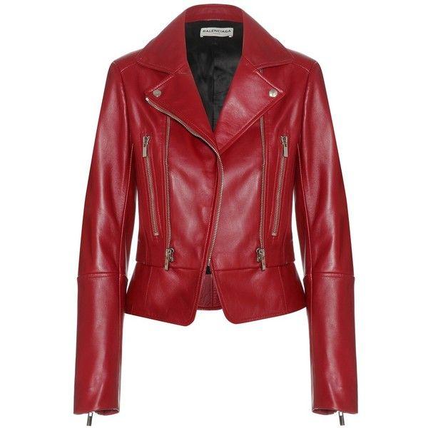 Balenciaga Leather Biker Jacket (765.205 HUF) ❤ liked on Polyvore featuring outerwear, jackets, coats, coats & jackets, leather jackets, red, red motorcycle jacket, moto jacket, biker jacket and balenciaga jacket