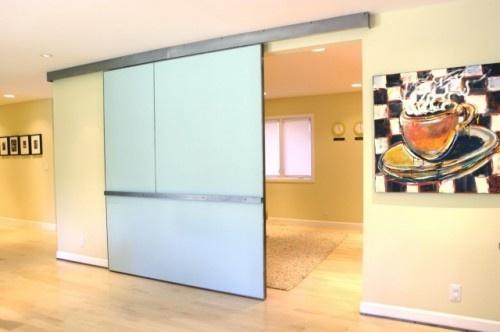 Kitchen glass barn door.