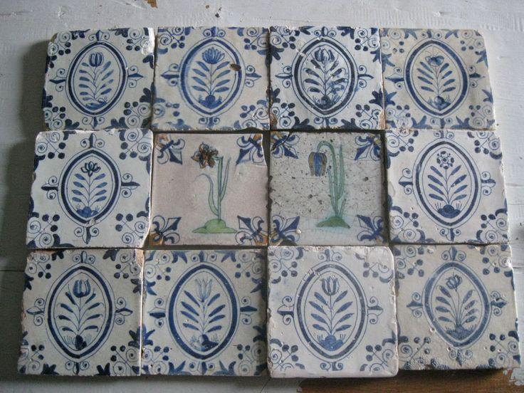 Details About Antique Dutch Polychrome Delft Tiles Rare