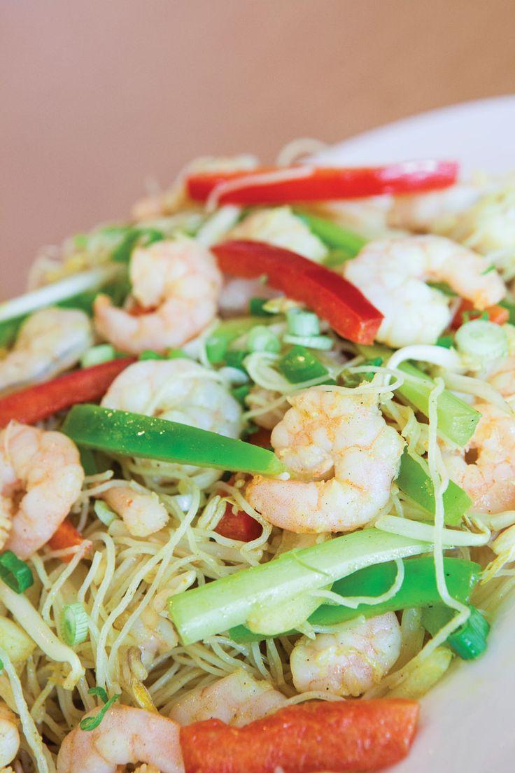 Les nouilles aux crevettes Singapour de chez Tomas Tam