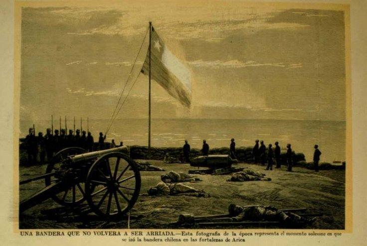 La bandera Chilena flameando en lo más alto del Morro de Arica, señalando el triunfo de los soldados tras el arduo combate, nunca mas se volverá a arriar.