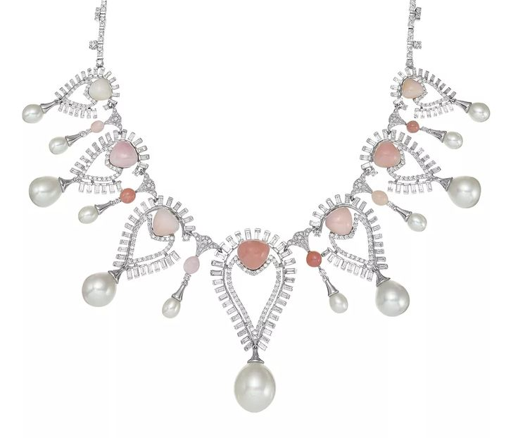Sarah Ho Persica necklace in 18k white gold with 10.3 cts. t.w. brilliant- and baguette-cut diamonds, 13 conch pearls, and 13 South Sea pearls, 136,000 pounds ($171,515)