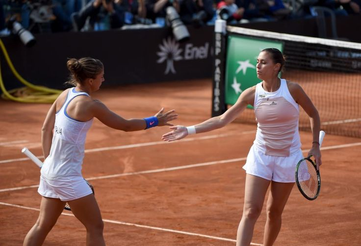4/19/15 Flavia Pennetta's perfect homecoming in Brindisi. In a win for the ages, Sara Errani / Flavia Pennetta take out World #1 Serena Williams and Alison Riske, a 6-0, 6-3.  Italy retains their #FedCup WG place and #TeamUSA will need to win their next WGII Playoff or be relegated for a 3rd time in history under Coach Mary Jo Fernandez.   #ITAUSA