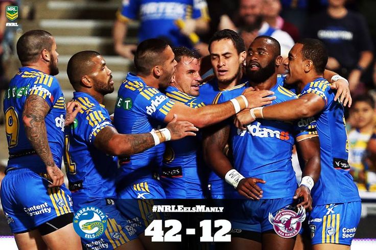 The Parramatta Eels have swept aside the Manly Warringah Sea Eagles in the 2nd Half - running away with a 42-12 victory .
