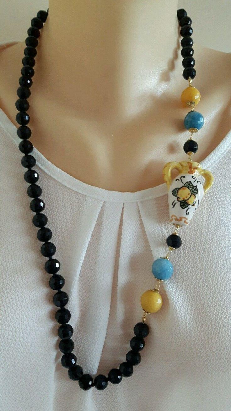 Collana ceramica Caltagirone, pietre dure onice e giada | Orologi e gioielli, Bigiotteria, Collane e pendagli | eBay!