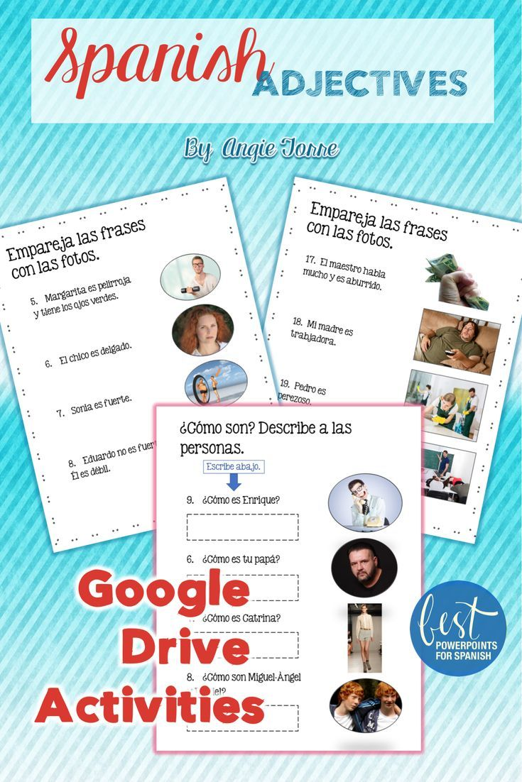 Want 100 Student Engagement Here Are Some Activities For Your Spanish Adje Google Drive Activities Spanish Adjectives Spanish Interactive Notebook Activities