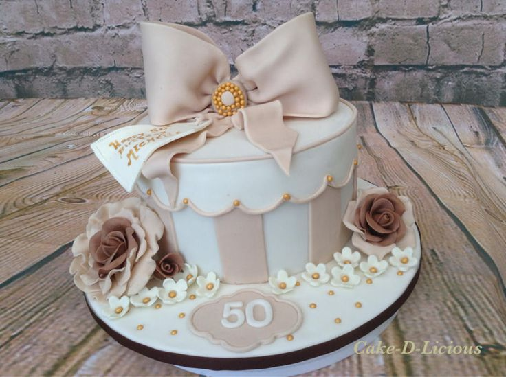 The 25 best gift box cakes ideas on pinterest beautiful 50th gift box cake by cake d licious negle Image collections