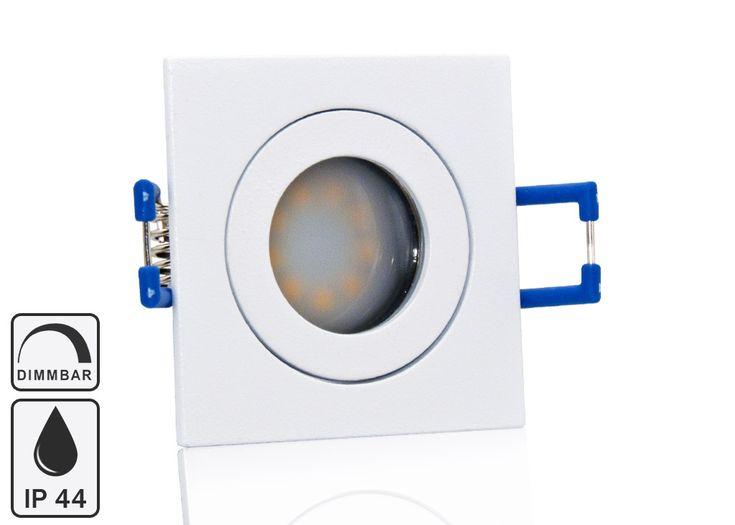 Feuchtraum LED Einbaustrahler Set IP44 MR11 35mm Druckguß weiß eckig mit Marken Flat LED Spot LC Light 3 Watt 230V Dimmbar