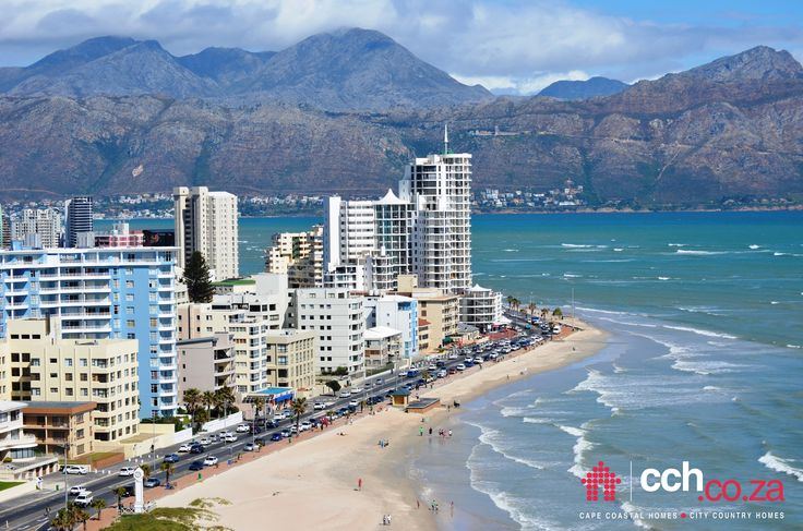 Strand beach - part of the Golden Mile between Cap D'Azur and Hibernian Towers - Helderberg - Cape Town. Gordons Bay and the Hottents-Holland mountain range (part of the Kogelberg Nature Reserve) visible at the back. #Strand #beach #CapeTown