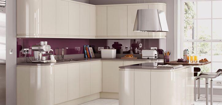 Utility room units Handleless Ivory/Cream Gloss Kitchen