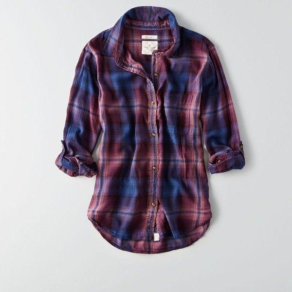 AE Boyfriend Plaid Shirt ($30) ❤ liked on Polyvore featuring tops, purple, purple shirt, plaid shirts, boyfriend shirts, tartan shirt and boyfriend flannel shirt