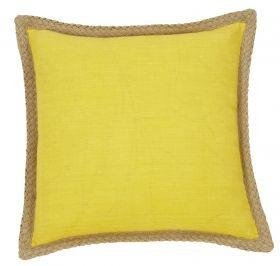 Brighten my day!    Mornington Cushion- Yellow, Blue, Linen, Red from Kush Living