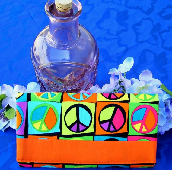 Trifold Fabric Clutch Wallet  with Peace Symbols by SpiritPenny, $33.00