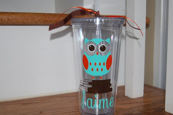 Vinyl Personalized Owl straw cup tumbler insulated by brandiwalk, $12.00