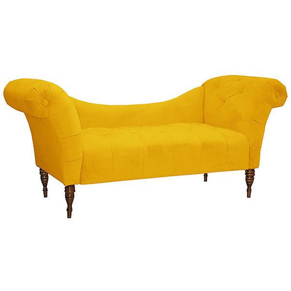 Cameron Tufted Chaise Canary Velvet Chaise Longues ($609) ❤ liked on Polyvore featuring home, furniture, chairs, accent chairs, yellow, yellow furniture, tufted chair, tufted chaise lounge, yellow accent chair and tufted accent chair