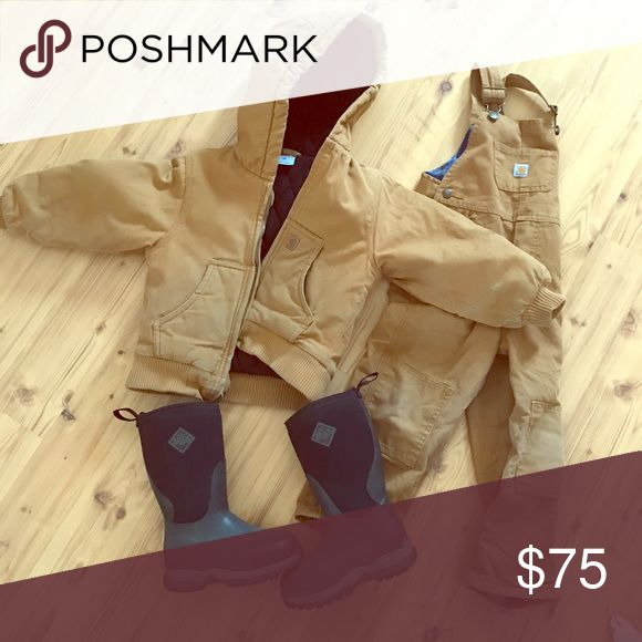 Carhartt Bib Set and Muck Boots Carhartt bib set is a 4T. Much boots are youth size 11. Carhartt Matching Sets