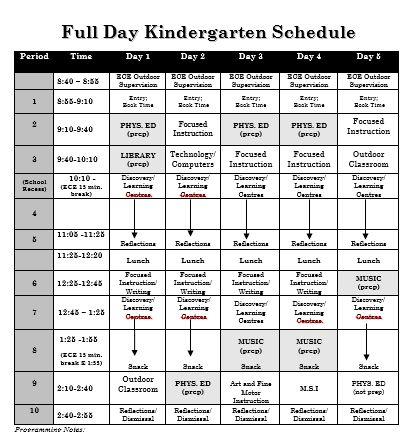 Sample Full Day Kindergarten Schedule