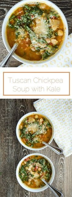 Tuscan Chickpea Soup with Kale - comforting, healthy and delicious. http://www.seasonalcravings.com